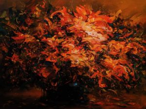 """""""Passion,"""" by William Liao 30 x 40 - acrylic $3600 as thick canvas wrap $4550 in show frame"""