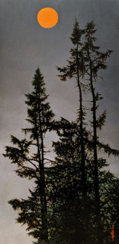 "SOLD ""Reaching for the Moon,"" by Alan Wylie 10 x 20 - oil $2660 Unframed $2960 in show frame"