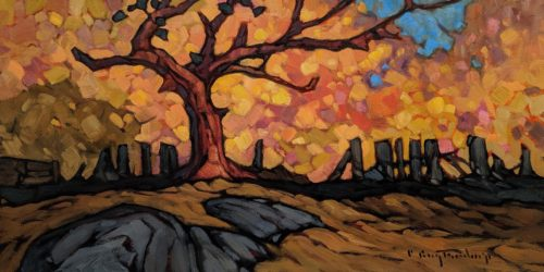 "SOLD ""Retired Plum Tree,"" by Phil Buytendorp 8 x 16 - oil $880 Unframed $1120 in show frame"