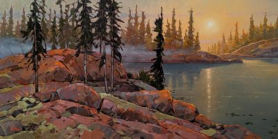 "SOLD ""Timeless Eve,"" by Graeme Shaw 24 x 48 - oil $3660 (artwork continues onto edges of wide canvas wrap)"
