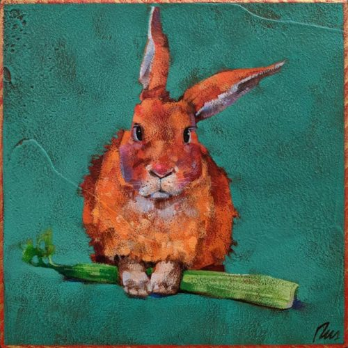 """""""Finders Keepers,"""" by Angie Rees 8 x 8 - acrylic $425 (unframed panel with 1 1/2"""" edges)"""