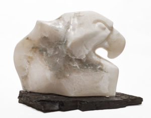 "SOLD ""Icy Stare,"" by Marilyn Armitage 11"" (H) x 13"" (L) - alabaster on slate $950"