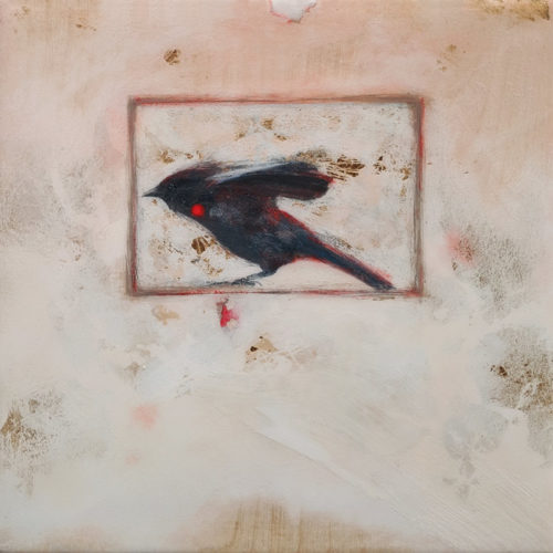 """""""The Intensity of Determination,"""" by Nikol Haskova 12 x 12 - mixed media, high-gloss finish $880 (unframed panel with thick edges)"""