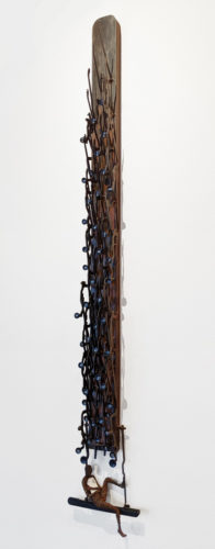 """The Poet,"" by Janis Woode Vintage typewriter parts, steel with patina 54"" (H) x 8"" (W) x 3 1/2"" (L) $3500"