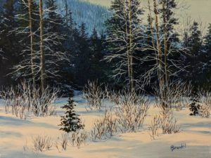"""Alpine Morning,"" by Merv Brandel 9 x 12 - oil $1025 Unframed"