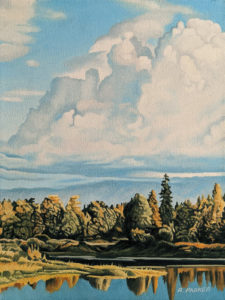 """""""Autumn Clouds,"""" by Ron Parker 9 x 12 - oil $1350 Unframed $1585 in show frame"""