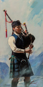"""""""Bagpipe,"""" by Clement Kwan 6 x 12 - acrylic $1100 Unframed $1320 in show frame"""