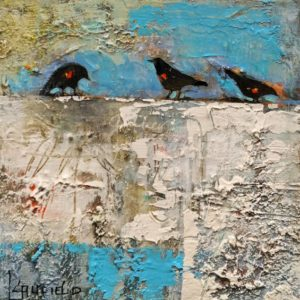 """""""Blessings in Disguise,"""" by Lee Caufield 6 x 6 - acrylic $350 (unframed panel with 1 1/2"""" edges)"""