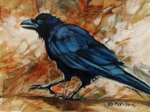 "SOLD ""Crow I,"" by Janice Robertson 6 x 8 - acrylic $350 Unframed"