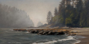 "SOLD ""Descending Fog,"" by Ray Ward 6 x 12 - oil $940 Unframed $1160 in show frame"