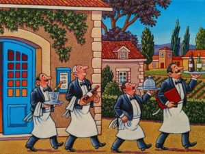"SOLD ""Dignified Waiters,"" by Michael Stockdale 9 x 12 - acrylic $500 Unframed"