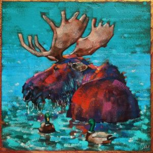 "SOLD ""Duck Duck Moose,"" by Angie Rees 8 x 8 - acrylic $425 (unframed panel with 1 1/2"" edges)"