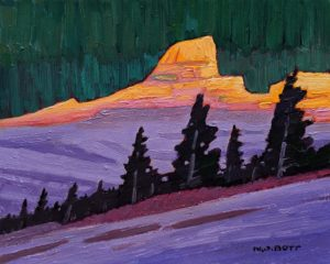 """Enchanting Mnt. Sunset,"" by Nicholas Bott 8 x 10 - oil $1090 Unframed"