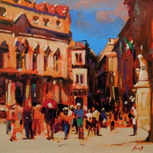 "SOLD ""Euclid's Hometown (Syracuse, Sicily)"" by Mike Svob 12 x 12 - acrylic $1090 Unframed"