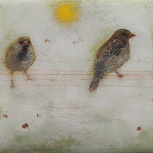 """Even in early mornings..."" by Nikol Haskova 6 x 6 - mixed media, high-gloss finish $380 (unframed panel with thick edges)"