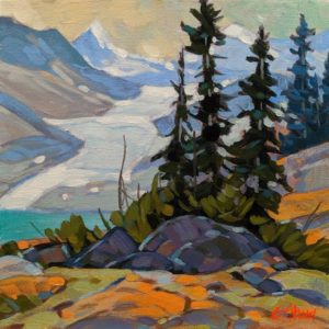 "SOLD ""Glacier View,"" by Graeme Shaw 8 x 8 - acrylic $470 Unframed"