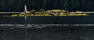 """SOLD """"Hohm Island, Alberni Inlet,"""" by Keith Hiscock 6 x 14 - oil $850 Unframed"""