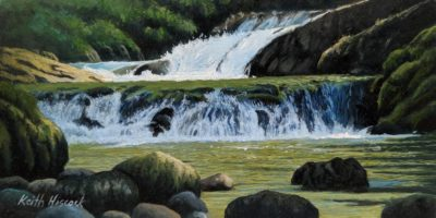 """SOLD """"Kitsuksis Creek Falls,"""" by Keith Hiscock 4 x 8 - oil $500 Unframed $650 in show frame"""