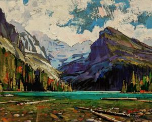 "SOLD ""Lake O'Hara,"" by Min Ma 8 x 10 - acrylic $845 Unframed $1050 in show frame"