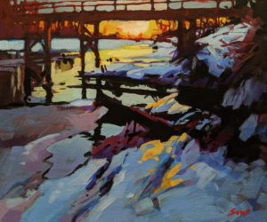 "SOLD ""Little Campbell River Sunset"" by Mike Svob 10 x 12 - acrylic $895 Unframed $1150 in show frame"