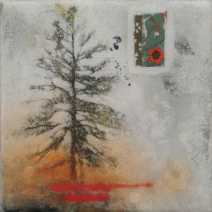 "SOLD ""Mark Your Calendar,"" by Nikol Haskova 6 x 6 - mixed media, high-gloss finish $380 (unframed panel with thick edges)"
