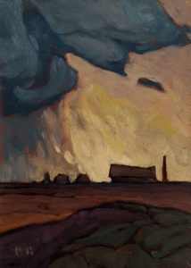 "SOLD ""Microburst,"" by Phil Buytendorp 5 x 7 - oil $550 Unframed $685 in show frame"