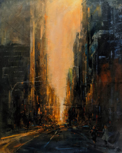 """""""Morning Rush,"""" by William Liao 24 x 30 - acrylic $2350 (thick canvas wrap)"""