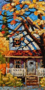 "SOLD ""Our Little Veranda,"" by Rod Charlesworth 6 x 12 - oil $750 Unframed $900 in show frame"