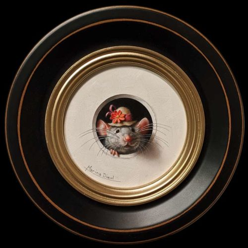 """Petite Souris 354"" (Little Mouse 354) by Marina Dieul 4"" diameter plus frame (shown) - oil USD $900 Framed (approx. $1180 CAD Framed)"