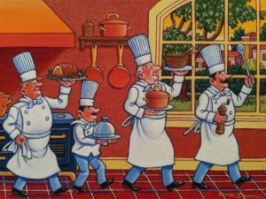 "SOLD ""Proud Cooks,"" by Michael Stockdale 9 x 12 - acrylic $500 Unframed"