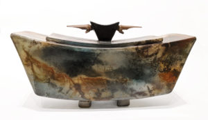 "Slab Box (235) by Geoff Searle pit-fired pottery – 12"" (L) x 6"" (H) $695"