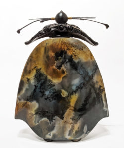 "SOLD Slab Vase (236) by Geoff Searle pit-fired pottery – 12 1/2"" (H) x 9"" (W) $650"