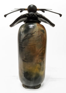 "SOLD Bottle (244) by Geoff Searle pit-fired pottery – 9 1/2"" (H) $440"