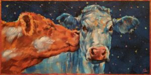 "SOLD ""Smoooch,"" by Angie Rees 6 x 12 - acrylic $450 (unframed panel with 1 1/2"" edges)"