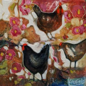 "SOLD ""Spring Chickens"" by Lee Caufield 6 x 6 – acrylic $325 (unframed panel with 1 1/2"" edges)"