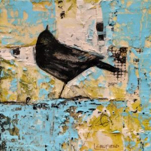 """""""Things Are Looking Up,"""" by Lee Caufield 6 x 6 - acrylic $350 (unframed panel with 1 1/2"""" edges)"""