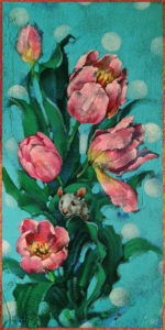 "SOLD ""Tip Toe Through the Tulips,"" by Angie Rees 6 x 12 - acrylic $450 (unframed panel with 1 1/2"" edges)"