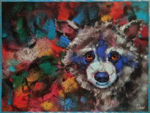 "SOLD ""Trash Panda: Raise a Little Hell,"" by Angie Rees 6 x 8 - acrylic $300 (unframed panel with 1 1/2"" edges)"