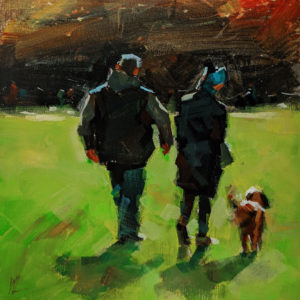 """Walking Together,"" by William Liao 10 x 10 - acrylic $495 (unframed panel with 1 1/2"" edges)"