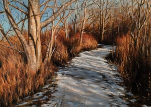 "SOLD ""Winter Walk,"" by Ray Ward 5 x 7 - oil $640 Unframed $820 in show frame"