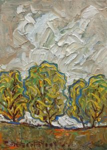 """Yellow Fall,"" by Steve Coffey 5 x 7 - oil $500 Unframed"
