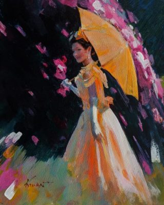 """""""Yellow Parasol,"""" by Clement Kwan 8 x 10 - acrylic $1300 Unframed"""