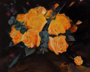 """Yellow Roses,"" by Clement Kwan 8 x 10 - acrylic $1300 Unframed"
