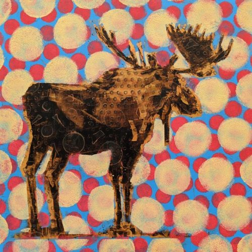 Moose (019-1759) by Les Thomas 12 x 12 - oil $2000 (raised panel)