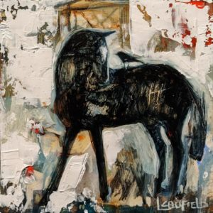 "SOLD ""Stable Mates III"" by Lee Caufield 6 x 6 – acrylic $325 (unframed panel with 1 1/2"" edges)"