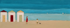"""SOLD """"Toys"""" by Louise Lauzon 12 x 30 – acrylic $840 Unframed"""