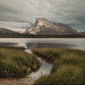 "SOLD ""Breaking Sky Over Rundle"" by Ray Ward 12 x 12 – oil $1320 Unframed"