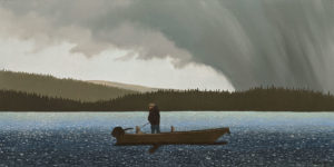 """Come Hail and High Water,"" by Ken Kirkby 18 x 36 - oil $1945 Unframed"