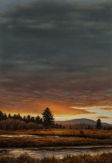 """Evening Sky, Englishman River,"" by Ray Ward 6 1/2 x 9 1/2 - oil $850 Unframed"