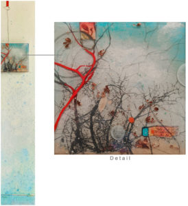 "SOLD ""Finding Serenity"" by Nikol Haskova 10 x 60 – mixed media $2600 (unframed panel with thick edges)"